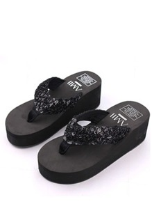 Sequin Platform Slippers