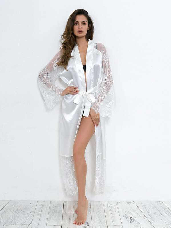 c600d8d5e575 Eyelash Lace Contrast Mesh Self Belted Robe