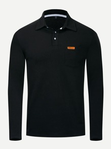 Men Patched Polo Shirt