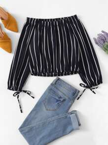 Striped Off The Shoulder Knot Sleeve Blouse