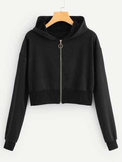 Zip Up Hooded Crop Jacket