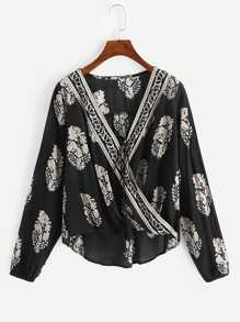 Printed Knot Front Wrap Top