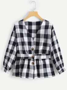 Single Breasted Ruffle Hem Plaid Blouse