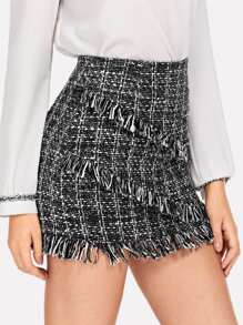 Plaid Fringe Tweed Skirt