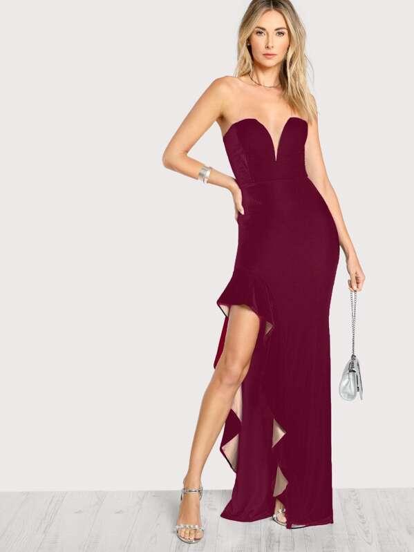 321f6b3aa40 Sweatheart Kleid mit asymmetrischer Raffung