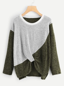 Color block Twist Jumper