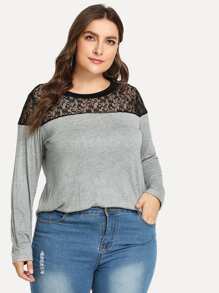 Plus Contrast Lace Tee