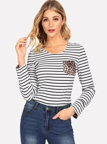 Leopard Print Pocket Striped Tee