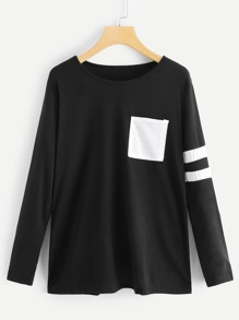 Pocket Decoration Varsity-Striped Tee