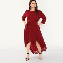 - Plus Scallop Trim Laser Cut High Low Dress