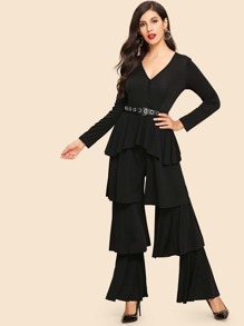 Layered Ruffle V-Neck Solid Jumpsuit