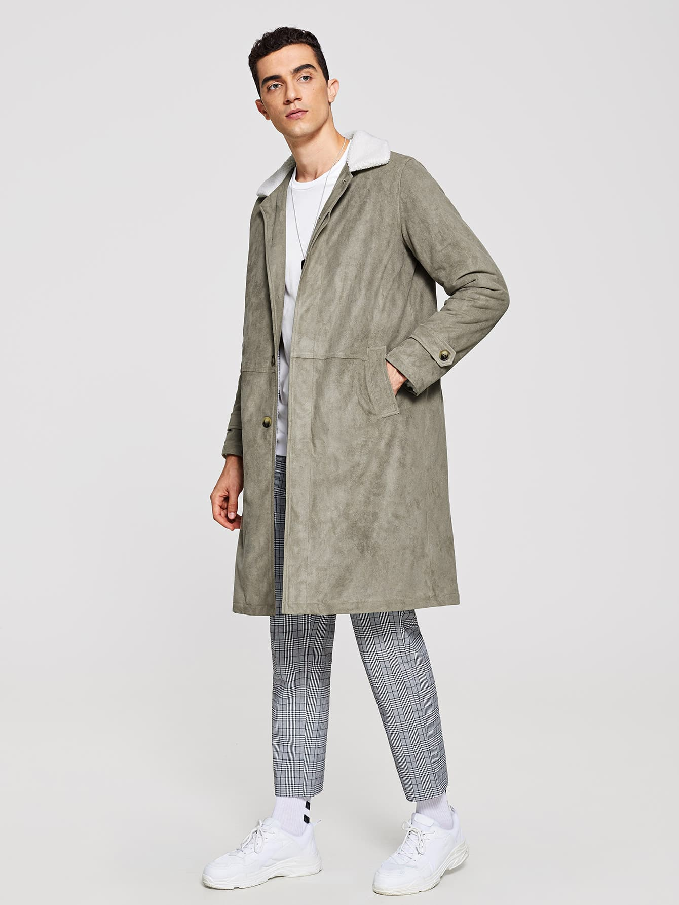 779a55902c Men Single Breasted Faux Fur Collar Coat   SHEIN