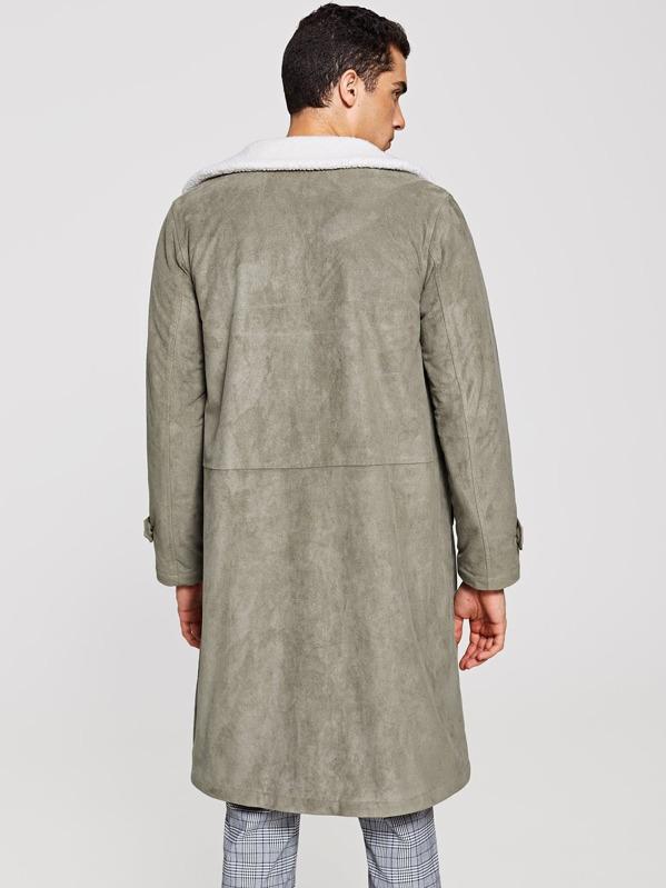 bb7cebe8e3 Men Single Breasted Faux Fur Collar Coat   SHEIN IN