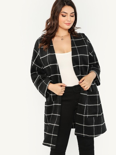 Plus Grid Print Open Front Coat
