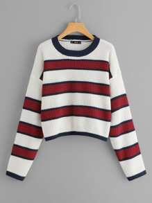 Plus Drop Shoulder Color Block Sweater