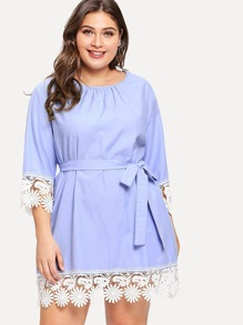 Plus Lace Trim Self Belted Dress