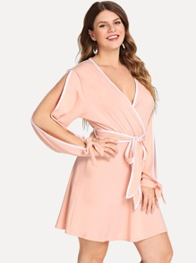 Plus Contrast Binding Belted Wrap Dress