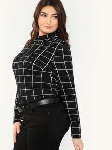 9815ed0aa4d Plus Mock Neck Grid T-shirt