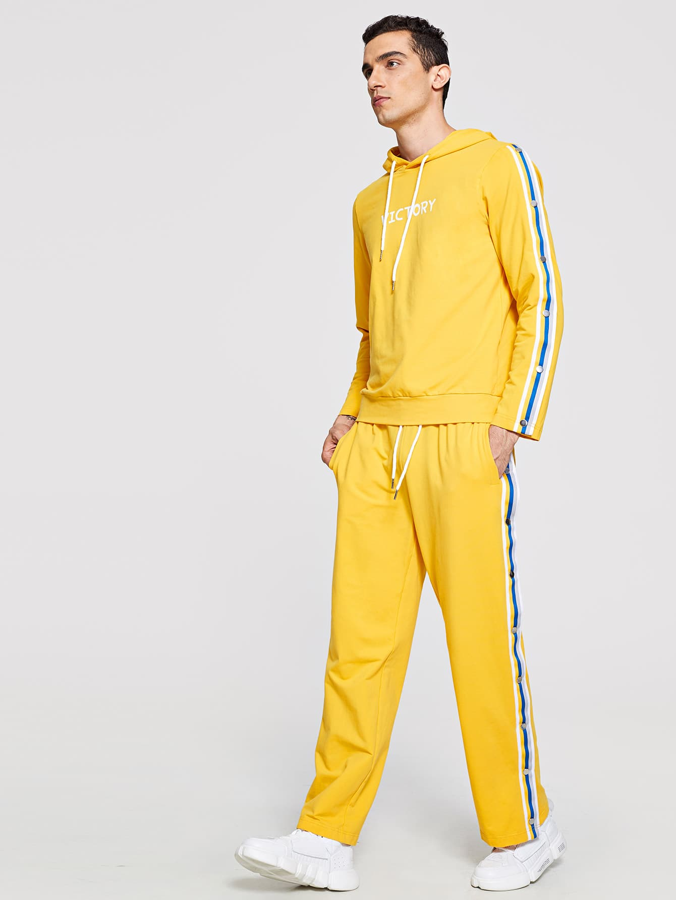 Men Striped and Button Sleeve Top & Pants Set Men Striped and Button Sleeve Top & Pants Set