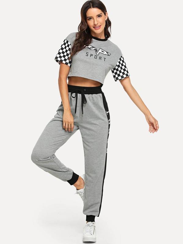 bd010ec8b758a7 Drop Shoulder Crop Top and Drawstring Waist Sweatpants Set