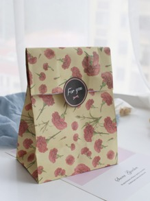 Floral Print Bag With Sticker 3pcs