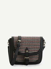 Buckle Detail Houndstooth Flap Crossbody