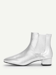 Metallic Block Heeled Chelsea Boots