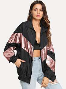 Metallic Panel Insert Drop Shoulder Jacket