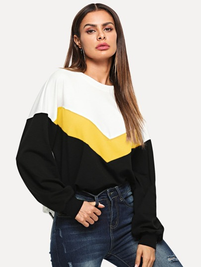 Cut And Sew Color Block Pullover