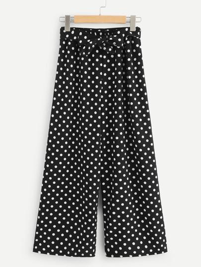 a41db9508b Pantalones anchos de lunares de cintura con cordón