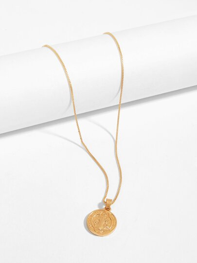 Cross Engraved Coin Pendant Necklace
