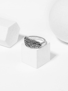 Metal Feather Design Ring 1pc