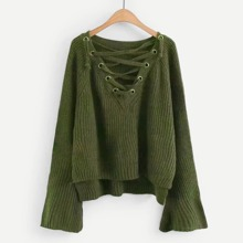 Eyelet Lace-Up V Neck High Low Sweater