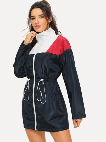 Zip Front Color Block Drawstring Jacket