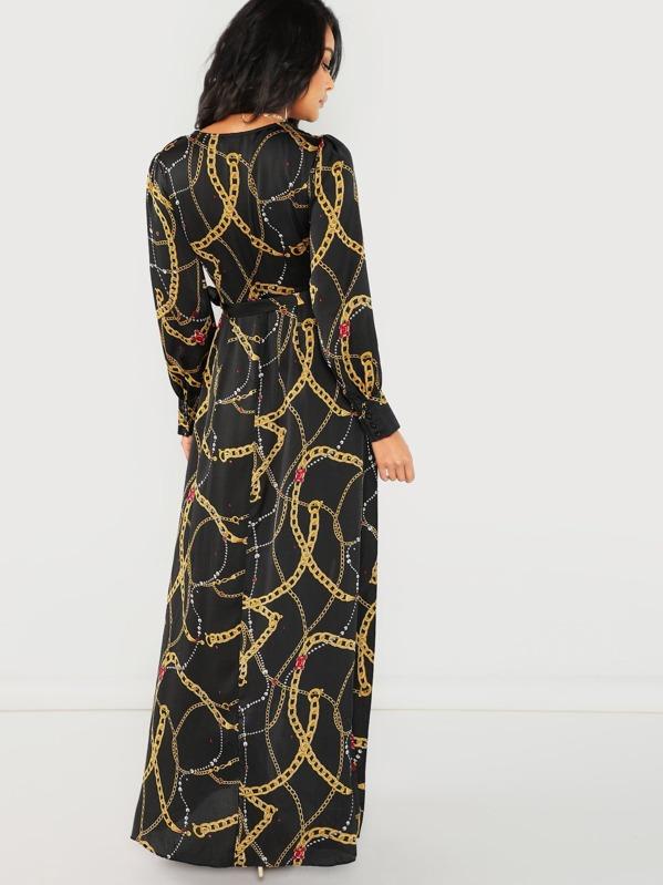 48921b6c2ee9c V-Neck Cuffed Long Sleeve Chain Printed Maxi Dress | SHEIN