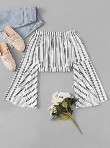 Off Shoulder Flounce Sleeve Striped Crop Top