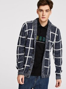 Men Plaid Sweater Coat