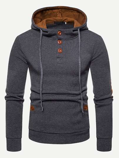 Guys Patched Decorated Hooded Sweatshirt