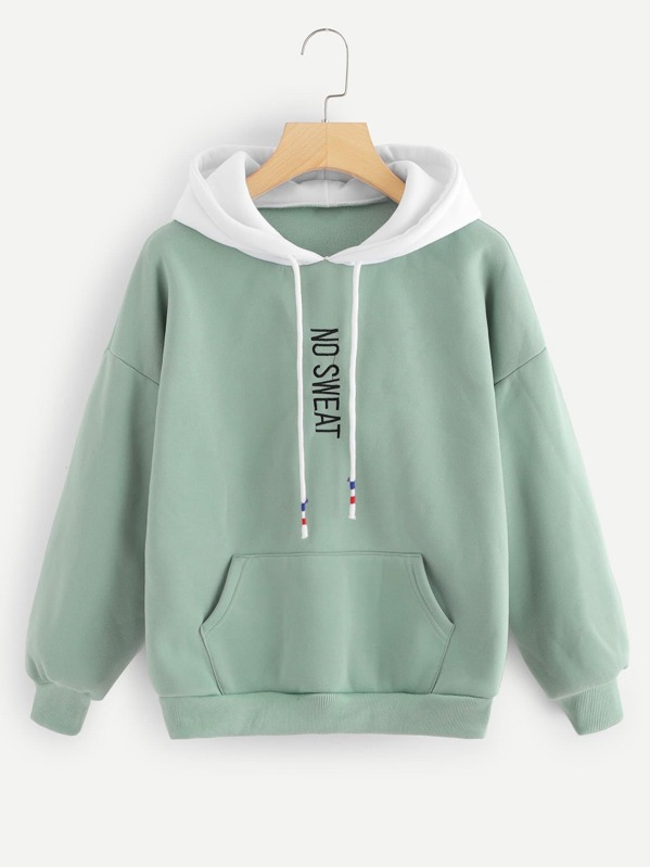 eb3562a1a0 Drop Shoulder Letter Embroidered Sweatshirt   SHEIN