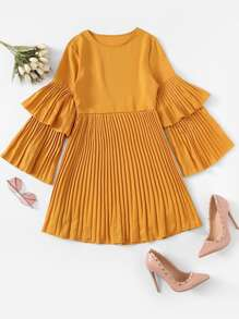 Pleated Solid Dress