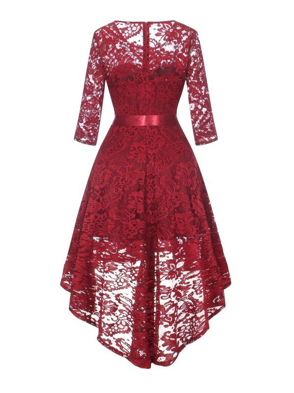 cd6a64a8f 50s Ribbon Tie Dip Hem Flare Lace Dress