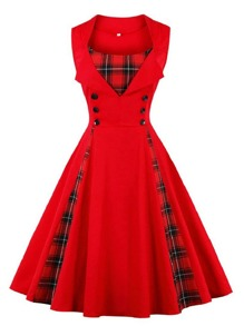 Button Decoration Plaid Dress