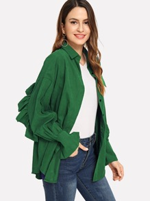 Frill Trim Solid Outerwear