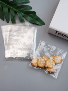 Snowflake Print Packaging Bag 100pcs