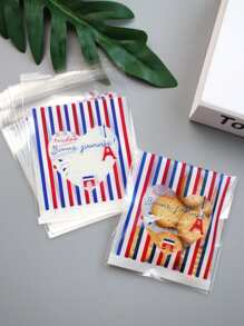 Striped Print Packaging Bag 100pcs