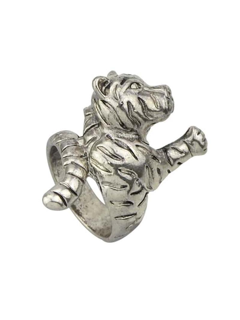 An-Silver Vintage Tiger Finger Rings