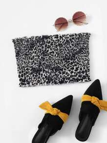 Frill Leopard Tube Top