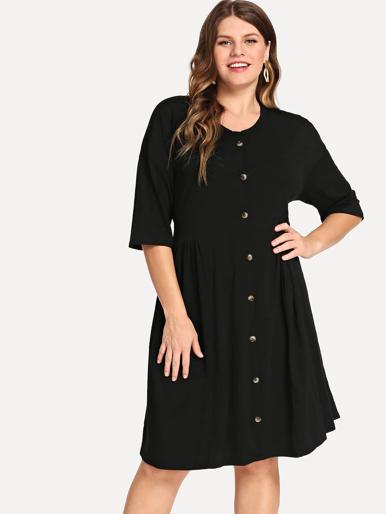 Plus Button Front Smock Dress