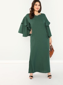 Plus Tiered Ruffle Sleeve Solid Dress