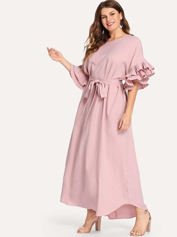 b92a18bd1d Plus Pleated Ruffle Cuff Self Belted Dress | SHEIN UK